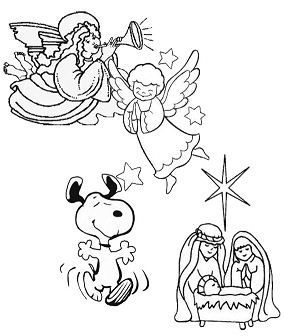 Charlie Brown Christmas Snoopy and Angels Coloring Page