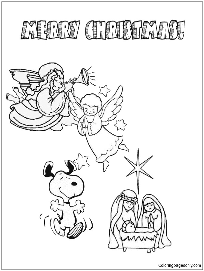 Charlie Brown Christmas Snoopy and Angels Coloring Page Free