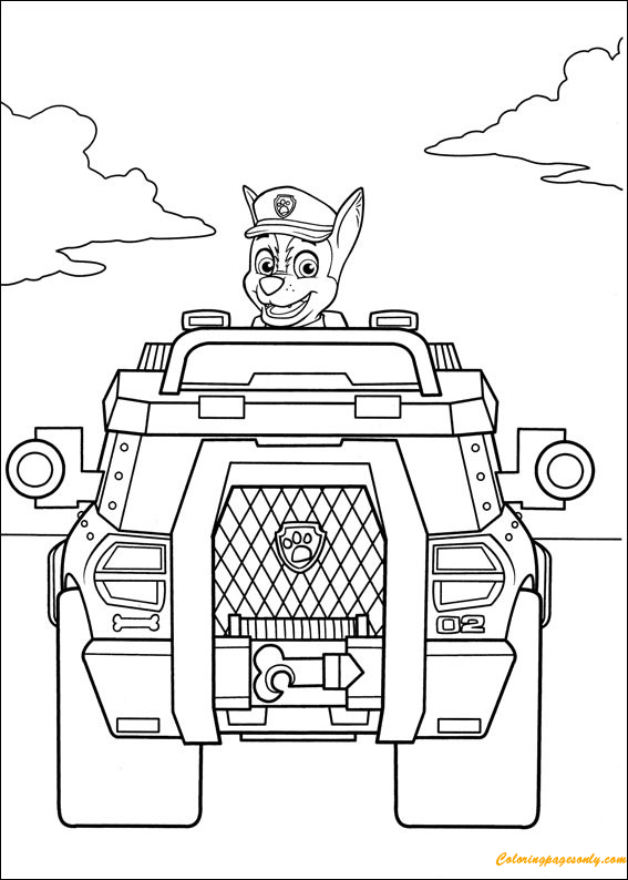 Chase Driving  Coloring Page