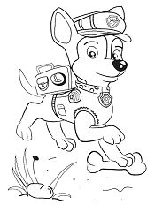 Chase from Paw Patrol 3 Coloring Page