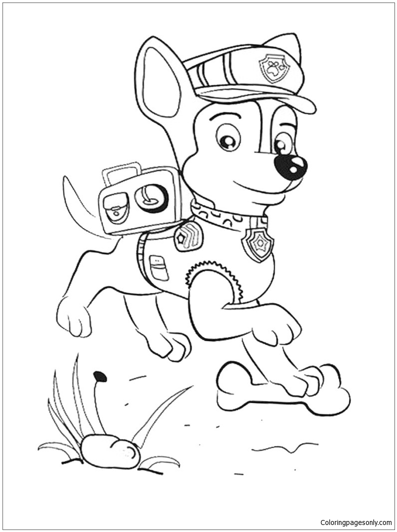 Chase from Paw Patrol 3 Coloring Page - Free Coloring ...