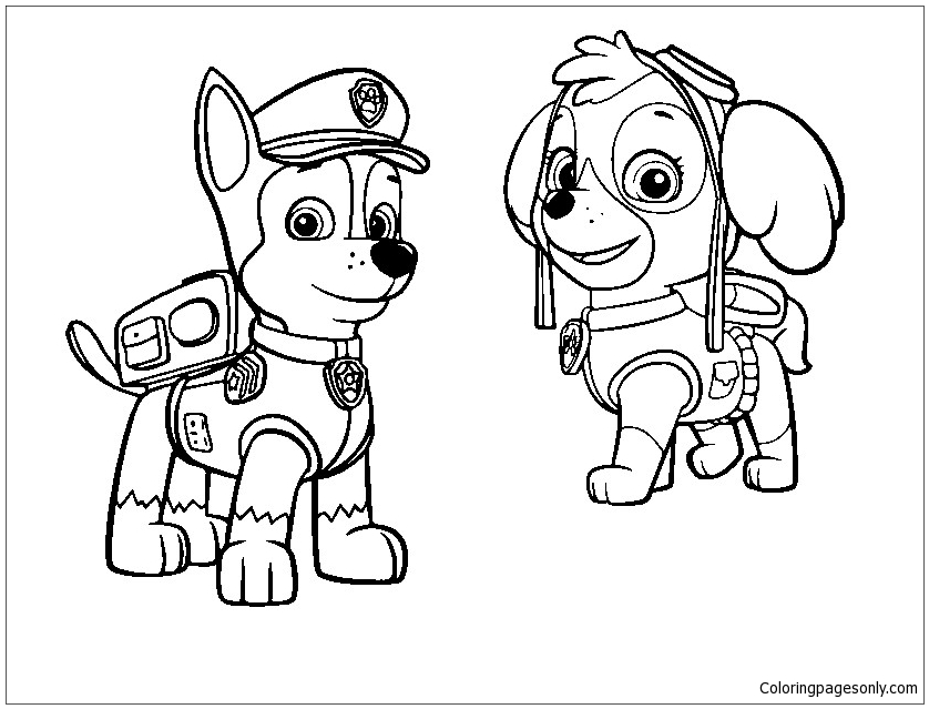 Chase Paw Patrol Coloring Page - Free Coloring Pages Online