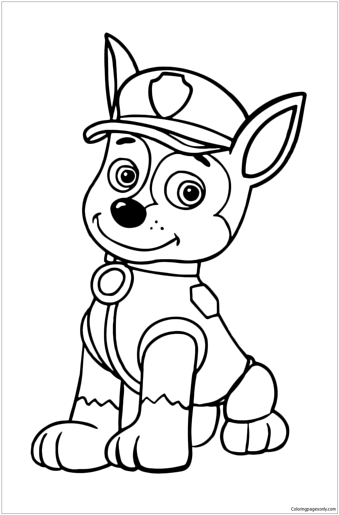 Chase The Police Dog Is Resting Sitting Coloring Page ...