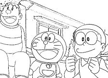 Cheerful Doraemon With His Friends 1 Coloring Page