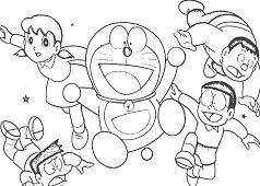 Cheerful doraemon with his friends Coloring Page