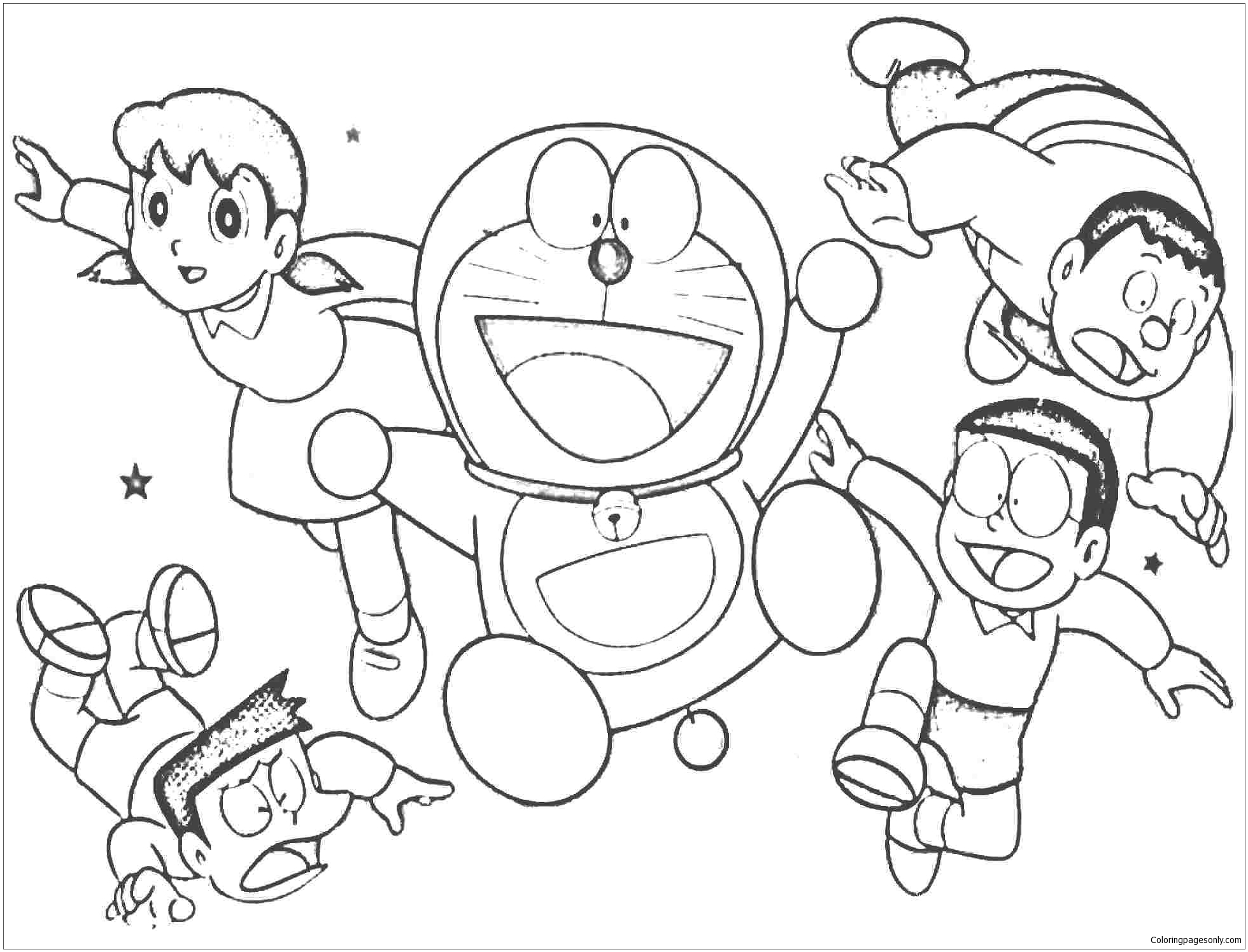 Cheerful doraemon with his friends Coloring Page Free