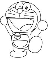 Cheerful Doraemon Coloring Page