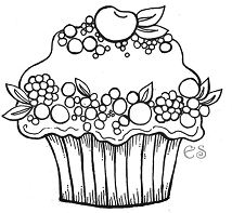 Cherry Bery Cupcake Coloring Page