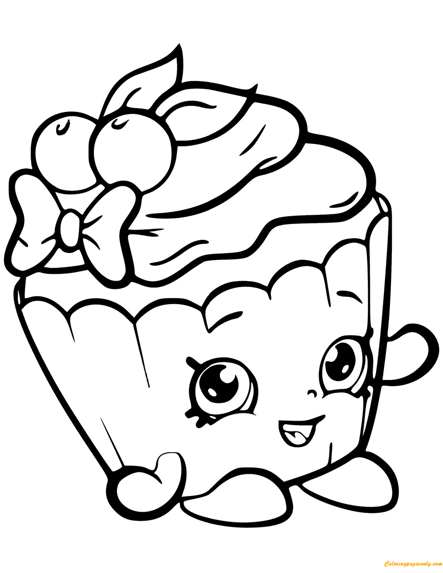 Cherry Nice Cupcake Shopkin Season 6 Coloring Page