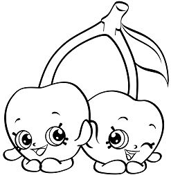Cherry Twins Shopkins Coloring Page