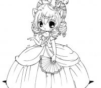Princess Chibi Anime Coloring Page