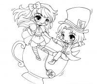 Chibi Anime 3 Coloring Page