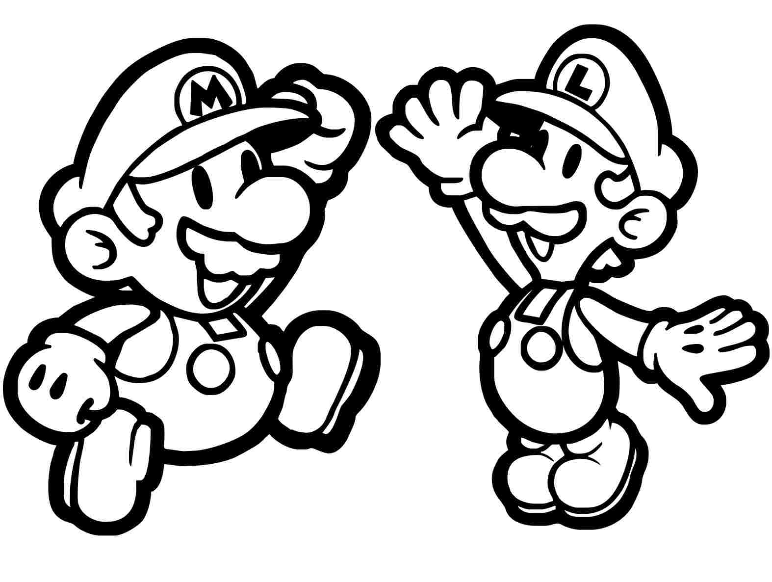 Chibi Mario and Luigi high-five Coloring Page
