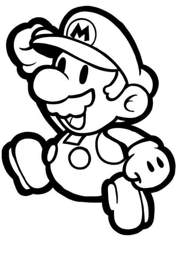 Chibi Mario says hello Coloring Page