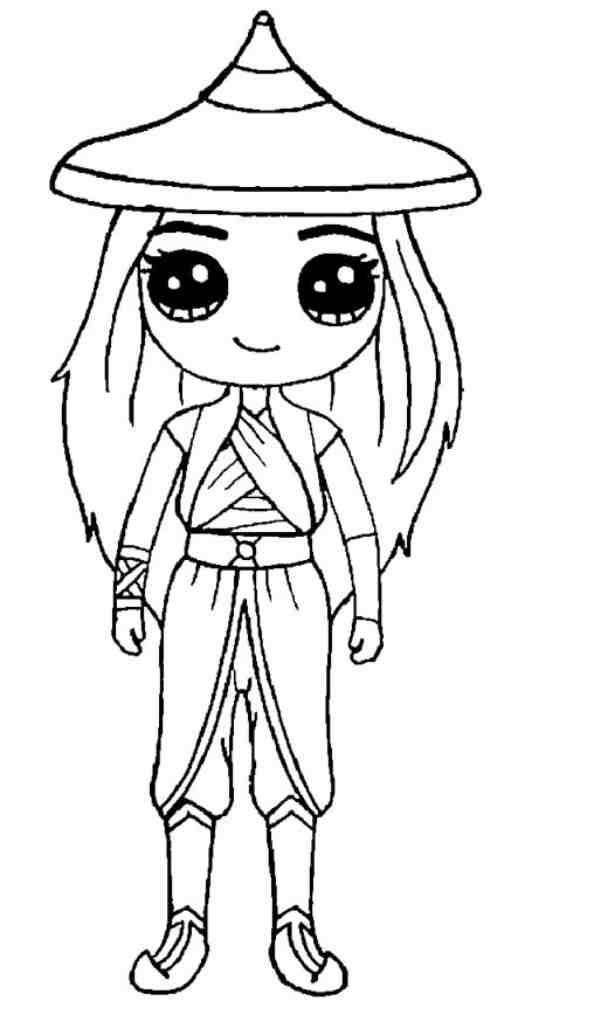 Chibi Raya Princess from Raya and the Last Dragon Coloring Page