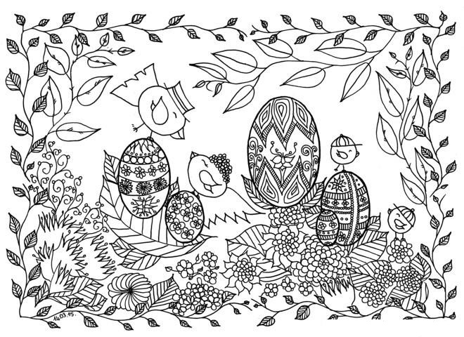 Chicks And Easter Eggs Coloring Page