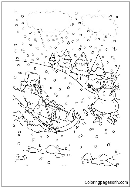 Child Having Fun On A Sledge Coloring Page