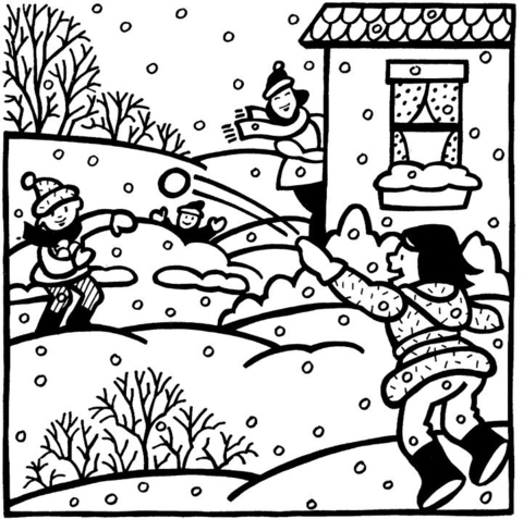 Children And Snowball In Winter Coloring Page