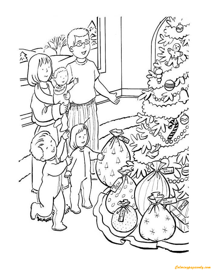 Children Are Excited Presents Coloring Page