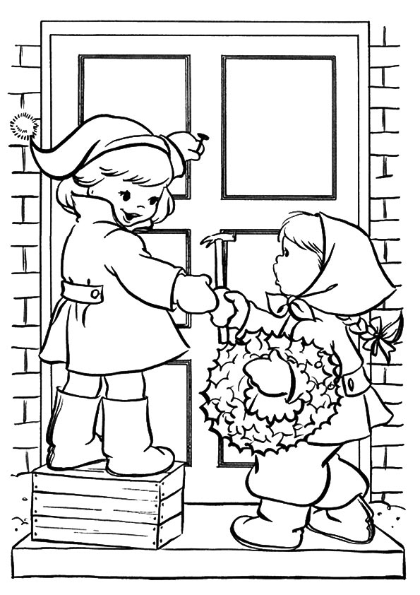 Children Decorating the House Door Coloring Page