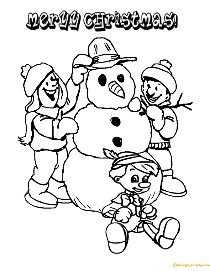 Children Making Christmas Snowman Coloring Page
