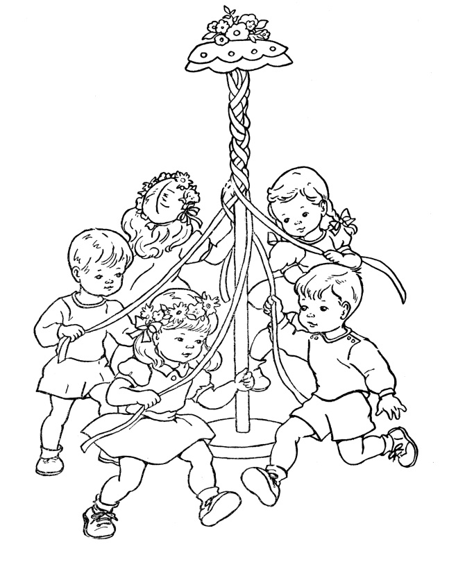 Children Maypole Dance Coloring Page