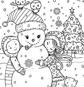 Children With Snowman During Christmas