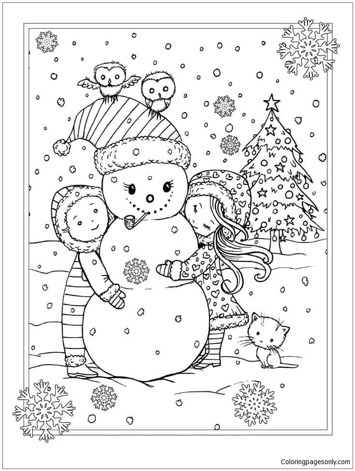 Children With Snowman During Christmas Coloring Page
