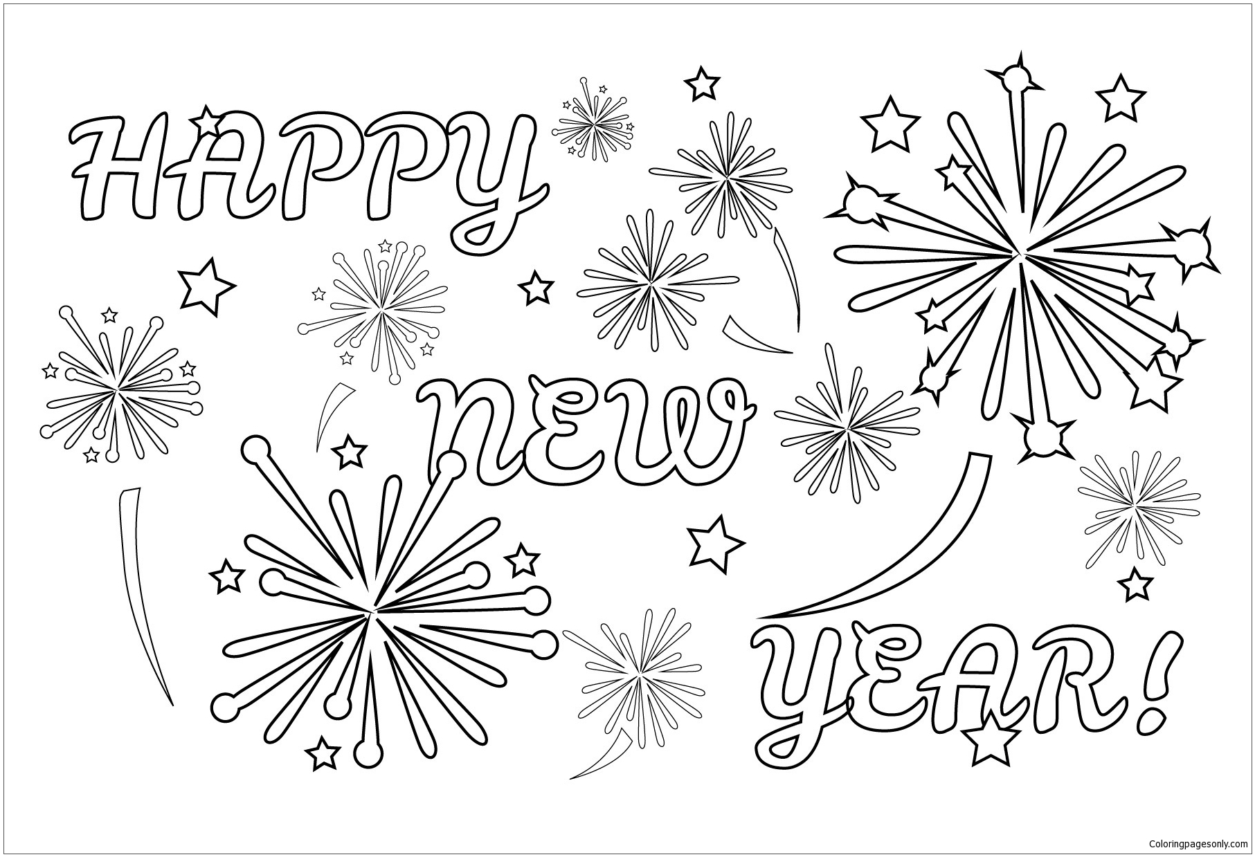 Chinese Fireworks Coloring Page