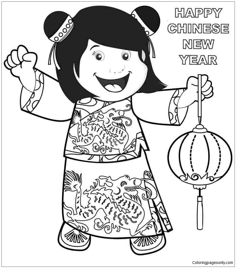 Chinese New Year S Little Girldede Coloring Page