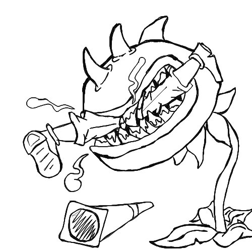 Chomper eats Conehead Zombie Coloring Page