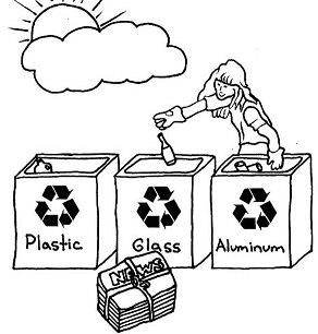 Choose The Right Bucket For Recycling Coloring Page - Free ...