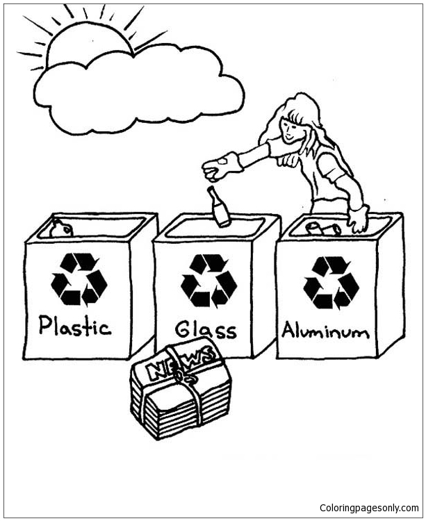 choose the right coloring page - choose the right bucket for recycling coloring page free