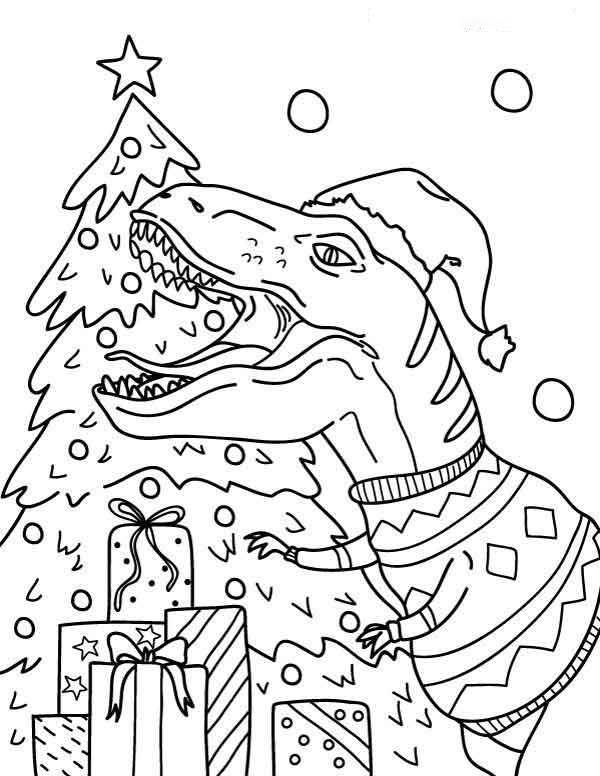 Christmas Allosaurus  Coloring Page