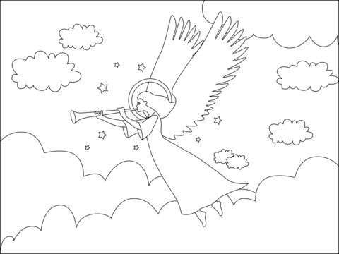 Christmas Angel With Trumpet Coloring Page