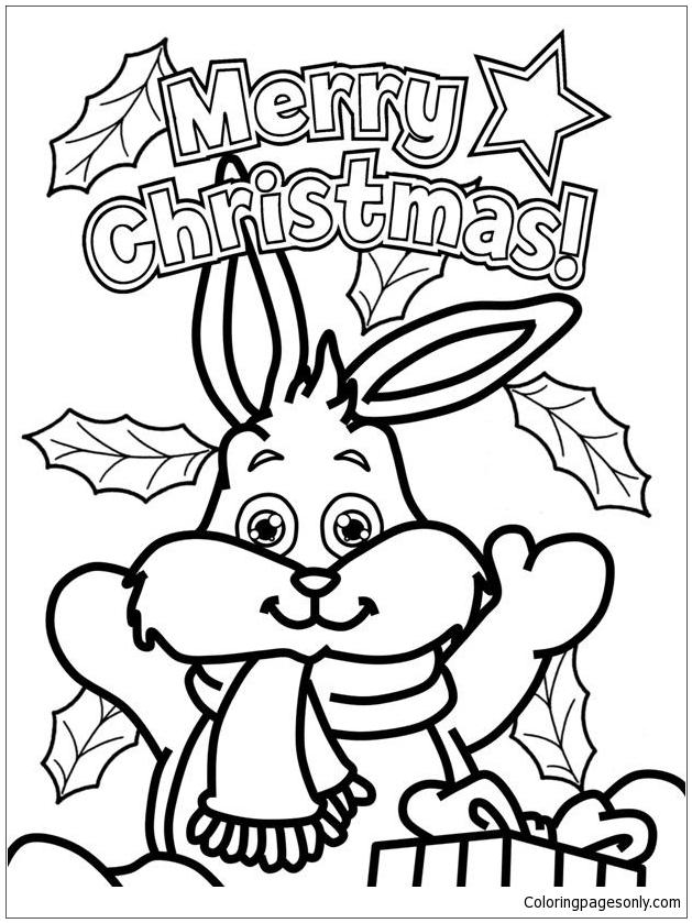Christmas Bunny Coloring Page