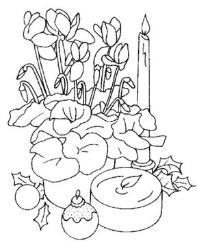 Christmas Candles and Flowers  Coloring Page