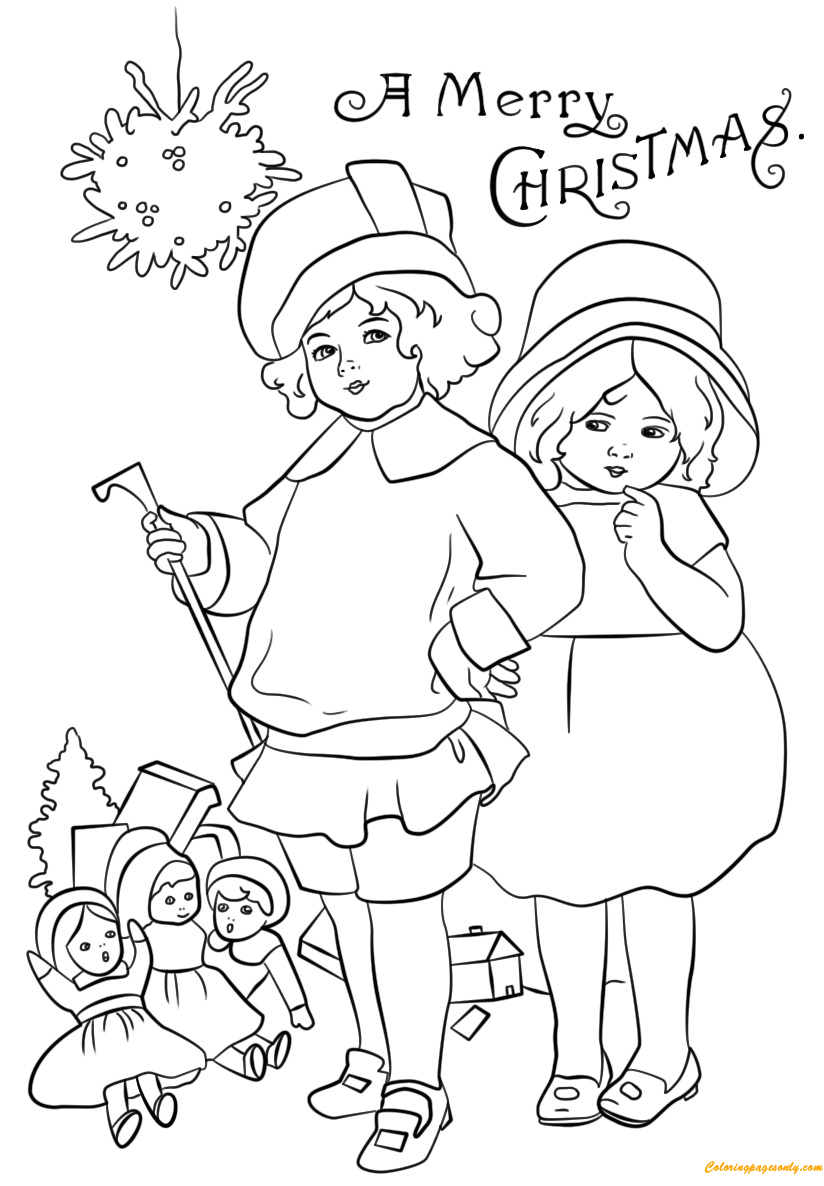Victorian Coloring Pages Christmas Card Victorian Coloring Page  Free Coloring Pages Online