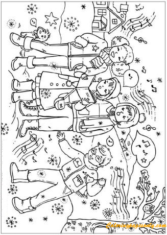 Christmas Carol Singers Coloring Page