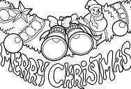Christmas decoration and the text Merry Christmas Coloring Page