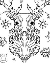 Christmas Deer with Light Bulbs Garland Zentangle