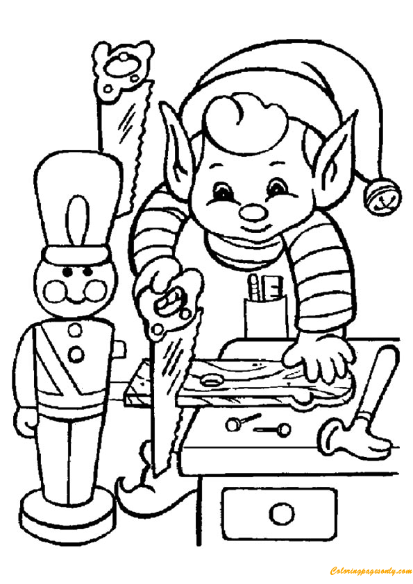 Christmas Elf Making Toys Coloring Page