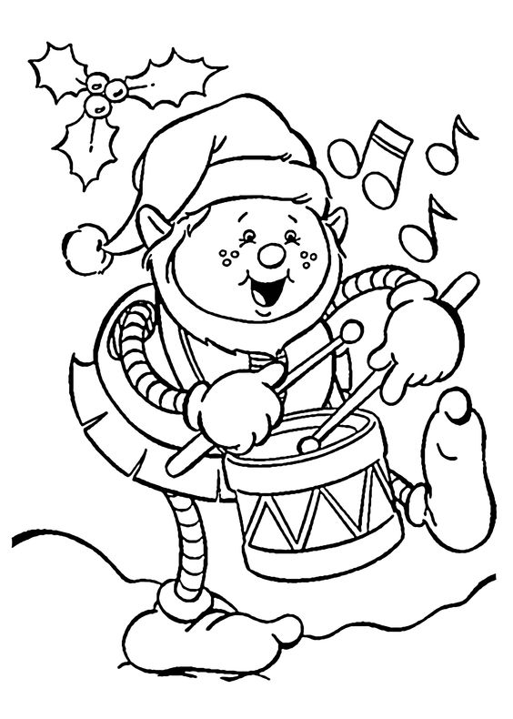Christmas Elf Playing Drum Coloring Page