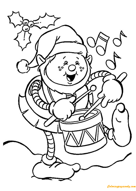 Christmas Elf Playing Drum Coloring