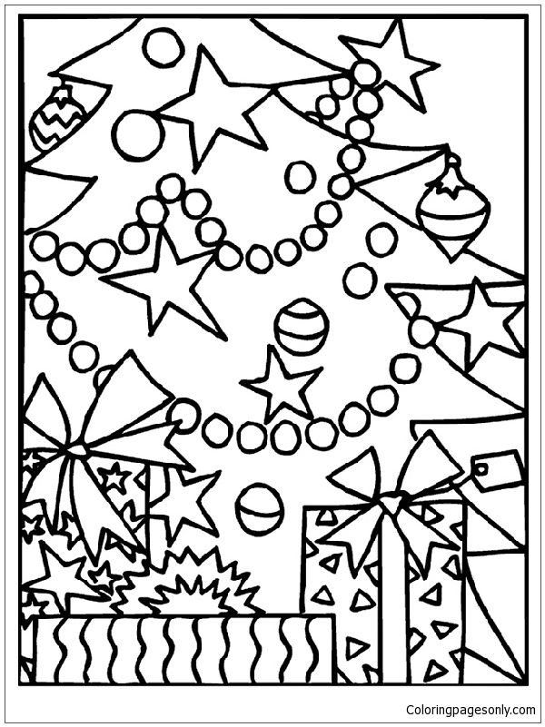 Christmas Gifts Under The Tree Coloring Page