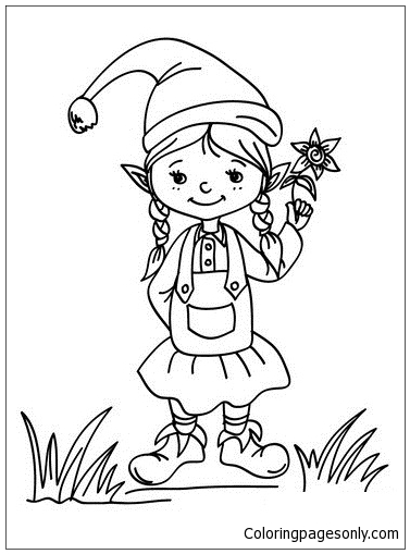 christmas girl elf coloring page