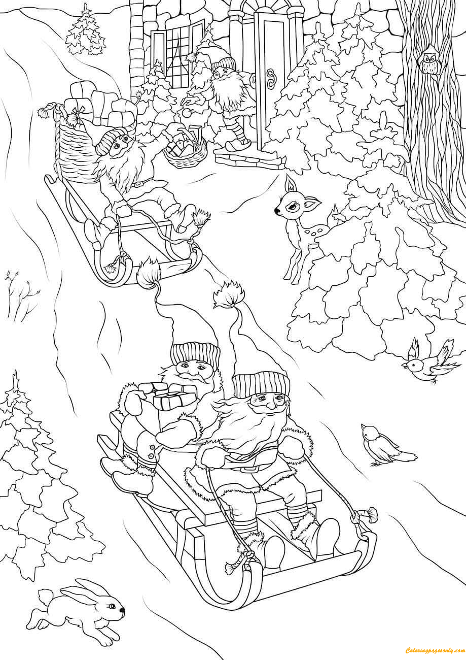 Christmas Gnomes Delivering Gifts On Sleds Coloring Page
