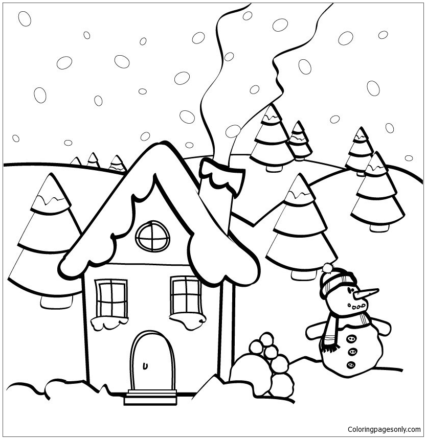 Christmas House 1 Coloring Page