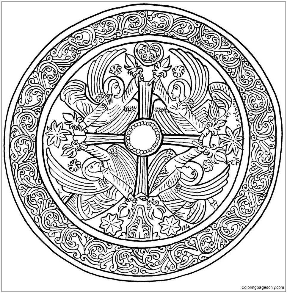 Christmas Mandala With Angels Coloring Page