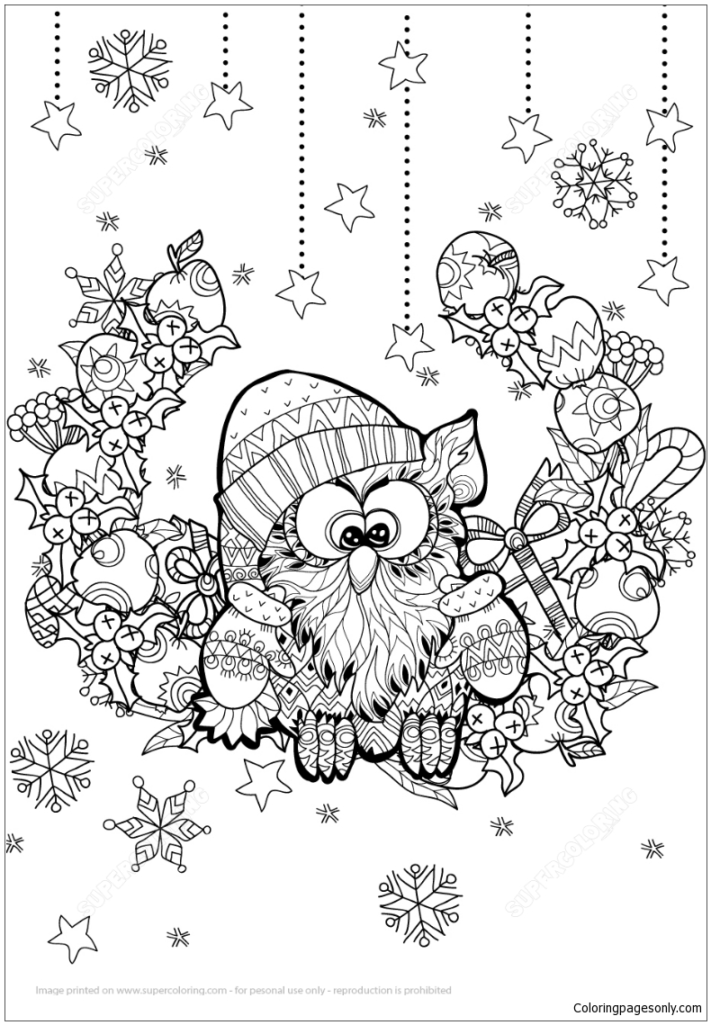 christmas owl zentangle coloring pages - holidays coloring